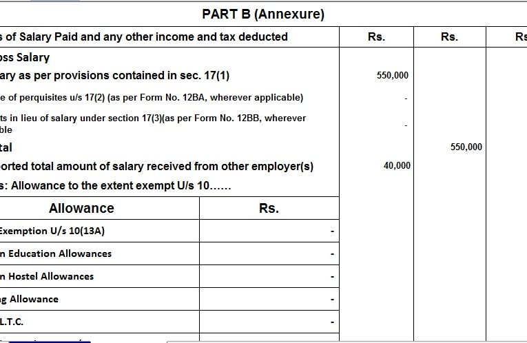 Tax Exemptions and deductions you will not get in new income tax regime U/s 115 BAC With Automated Master of Form 16 Part A and B for the F.Y.2020-21 and A.Y.2021-22