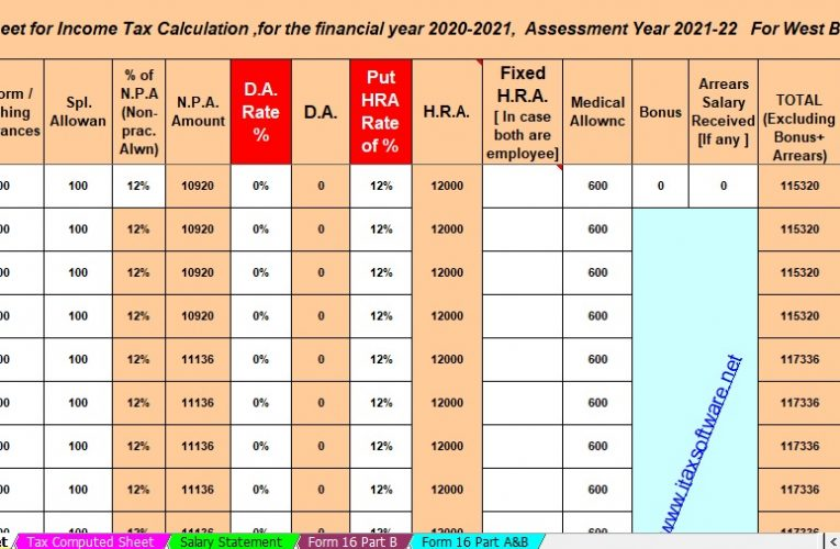 House Rent Allowance U/s 10(13A) with Auto Calculate H.R.A. Exemption Calculator U/s 10(13A) in Excel.
