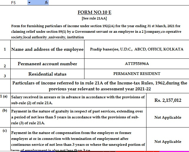 Income Tax Arrears Relief Calculator for the F.Y.2020-21